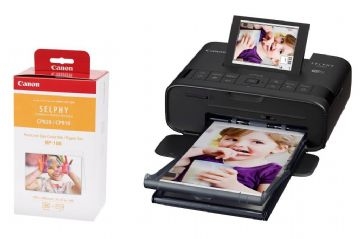 Canon SELPHY CP1300 Black Photo Printer inc Ink Paper Set for 108 x Photos